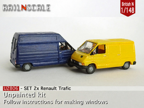 SET 2x Renault Trafic (British N 1:148) in Smooth Fine Detail Plastic