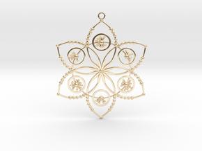 Crop circle pendant 2 (Plastic , Precious Metal ) in 14K Yellow Gold