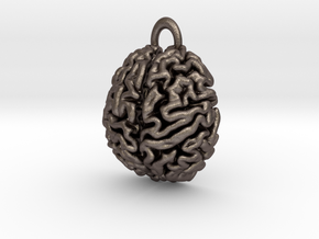 Anatomical Brain Pendant in Polished Bronzed-Silver Steel