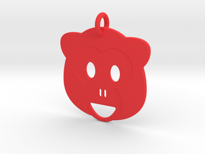 Monkey Pendant in Red Processed Versatile Plastic