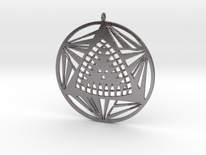 Crop circle pendant 7 in Polished Nickel Steel
