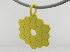 James Webb Space Telescope Mirror Pendant in Yellow Processed Versatile Plastic