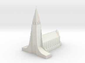 Neogothic cathedral Hallgrimskirkja in White Natural Versatile Plastic: 1:1000