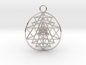 "3D Sri Yantra 3 Sided Optimal Pendant 1.5"" in Rhodium Plated Brass"