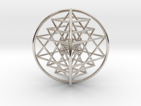 "3D Sri Yantra 4 Sided Optimal 3"" in Rhodium Plated Brass"