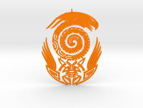 Maori snake bird tattoo Pendant in Orange Processed Versatile Plastic