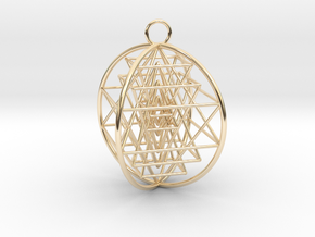3D Sri Yantra 4 Sided Optimal in 14K Yellow Gold