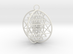 3D Sri Yantra 4 Sided Optimal in White Natural Versatile Plastic