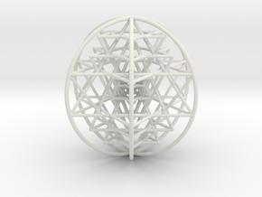 "3D Sri Yantra 6 Sided Optimal Large 3+"" in White Natural Versatile Plastic"