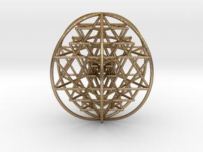 "3D Sri Yantra 6 Sided Optimal Large 3"" in Polished Gold Steel"