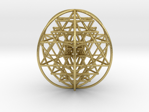 3D Sri Yantra 6 Sided Optimal Large in Natural Brass