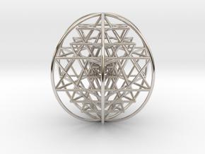 "3D Sri Yantra 6 Sided Optimal Large 3+"" in Platinum"