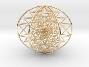 "3D Sri Yantra 6 Sided Symmetrical 3"" in 14K Yellow Gold"