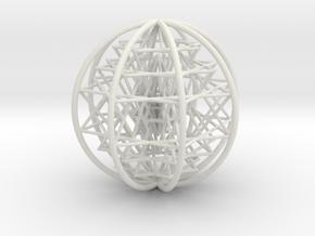 "3D Sri Yantra 8 Sided Symmetrical Large 3+"" in White Natural Versatile Plastic"