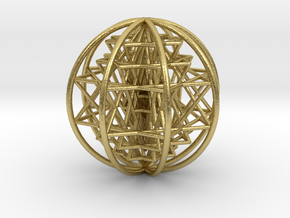 3D Sri Yantra 8 Sided Optimal Large in Natural Brass