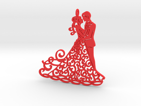 Dancing couple pendant in Red Processed Versatile Plastic