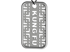 Kung Fu Dog Tag in Polished Bronzed Silver Steel