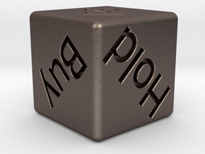 Investor's Dice in Polished Bronzed-Silver Steel