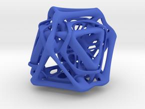 Ported looped Tetrahedron Plastic 5.6x4.8x5.3 cm in Blue Processed Versatile Plastic