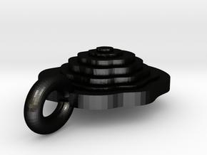 Interlocking Topography Pendant in Matte Black Steel
