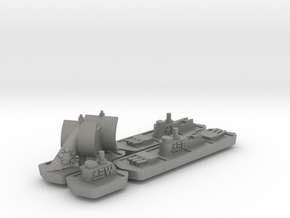 Military & Sailing ships (4 pcs) in Gray Professional Plastic
