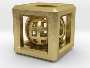 Sphere in Cube pendant in Natural Brass (Interlocking Parts)