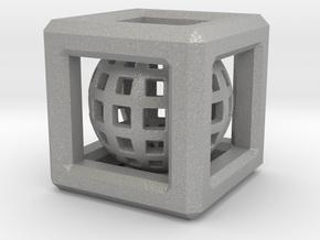Sphere in Cube pendant in Aluminum