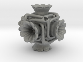 Cubeoctahedral flower  in Gray Professional Plastic