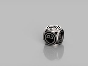 Rounded Game Dice in Polished Bronzed-Silver Steel