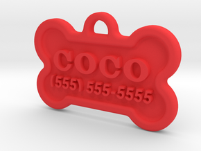 Dog Tag Coco in Red Processed Versatile Plastic