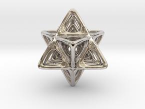 Sacred Merkaba nested in Rhodium Plated Brass