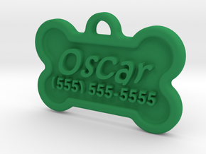 Dog Tag Oscar in Green Processed Versatile Plastic