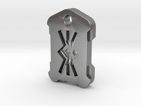 "Nordic Rune Letter ""KK"" in Natural Silver"
