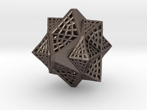Tetra Cube octa Family Compound in Polished Bronzed-Silver Steel