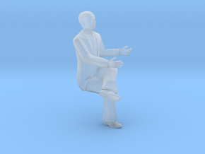 S Scale bald sitting man 2 in Smooth Fine Detail Plastic