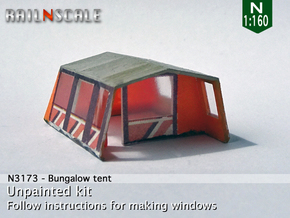 Bungalow tent (N 1:160) in Smooth Fine Detail Plastic