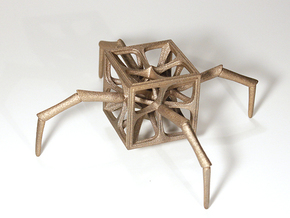 Aracno-Hedron in Polished Bronzed Silver Steel