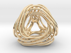 Looped Tetrahedron colored in 14k Gold Plated Brass