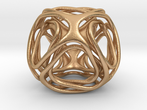 Twisted looped Octahedron  in Natural Bronze