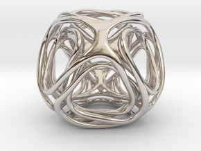 Twisted looped Octahedron in Rhodium Plated Brass