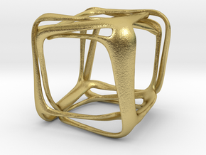 Twisted Looped Cube in Natural Brass (Interlocking Parts)