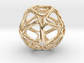 Icosahedron Looped in 14k Gold Plated Brass