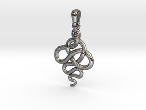 Pendentif Charreau serpent 2 in Polished Silver