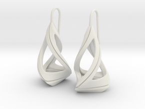 Trianon T.1, Earrings in White Premium Versatile Plastic