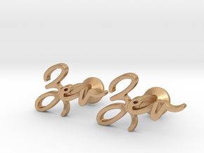 Name Cufflinks - Zev in Natural Bronze