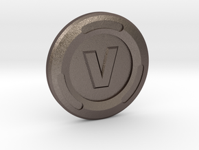 V-Buck Luck Charm in Polished Bronzed-Silver Steel