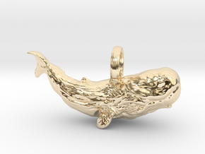 sperm whale pendant in 14K Yellow Gold