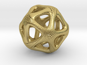 Perforated Twisted Icosahedron Type 1 in Natural Brass