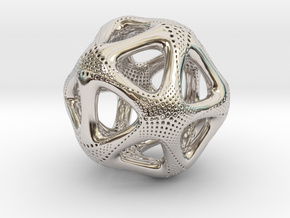 Perforated Twisted Icosahedron Type 1 in Rhodium Plated Brass