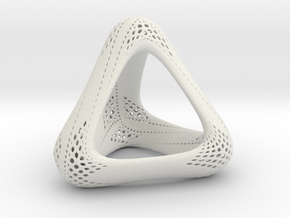 Perforated Tetrahedron  in White Natural Versatile Plastic
